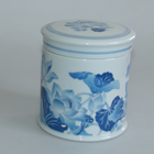 1985, Youth-Dew, INDIGO FLOWER PORCELAIN - COVERED CANDLE